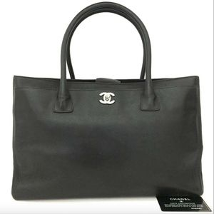 CHANEL Executive Dark Brown Leather Tote Bag